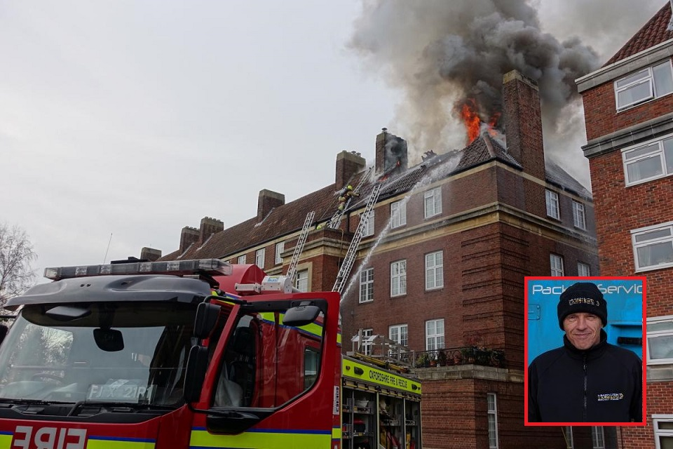 Colin Odley was in Woodstock Close and ran into the burning building to sound an alarm which 'did not sound'. Picture: Headington Carriers