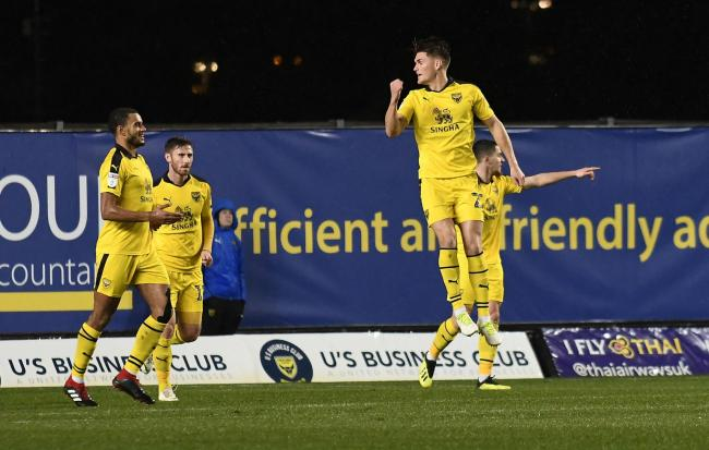Charlie Raglan jumps for joy after scoring his first goal for Oxford United   Picture: David Fleming