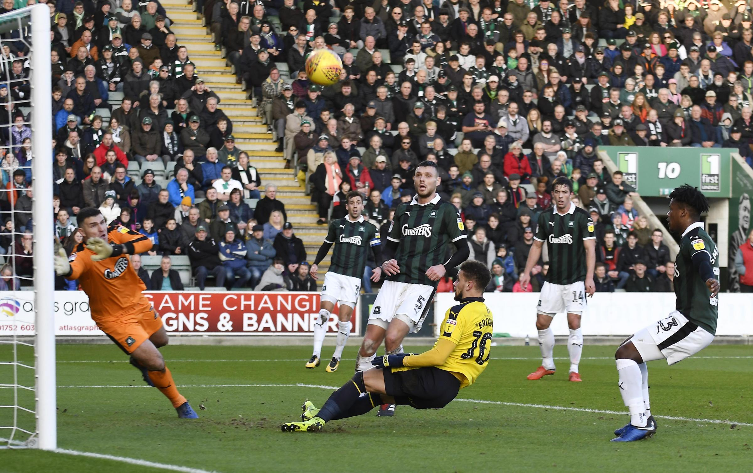Marcus Browne is unable to convert this chance in the first half at Plymouth Argyle  Picture: David Fleming