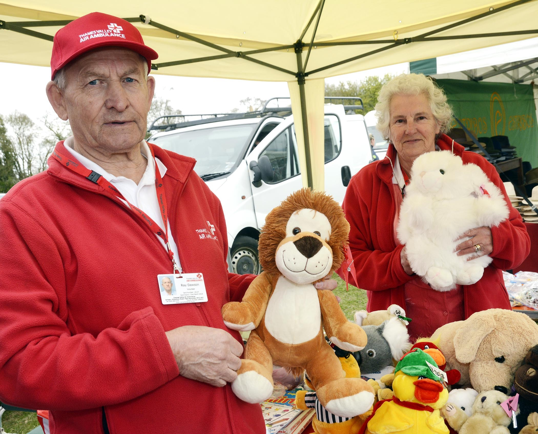 Ray Dawson and Janet Dawson of Grove raising funds for Thames Valley Air Ambulance at Lambourn Open Day. Picture: Paul Johns
