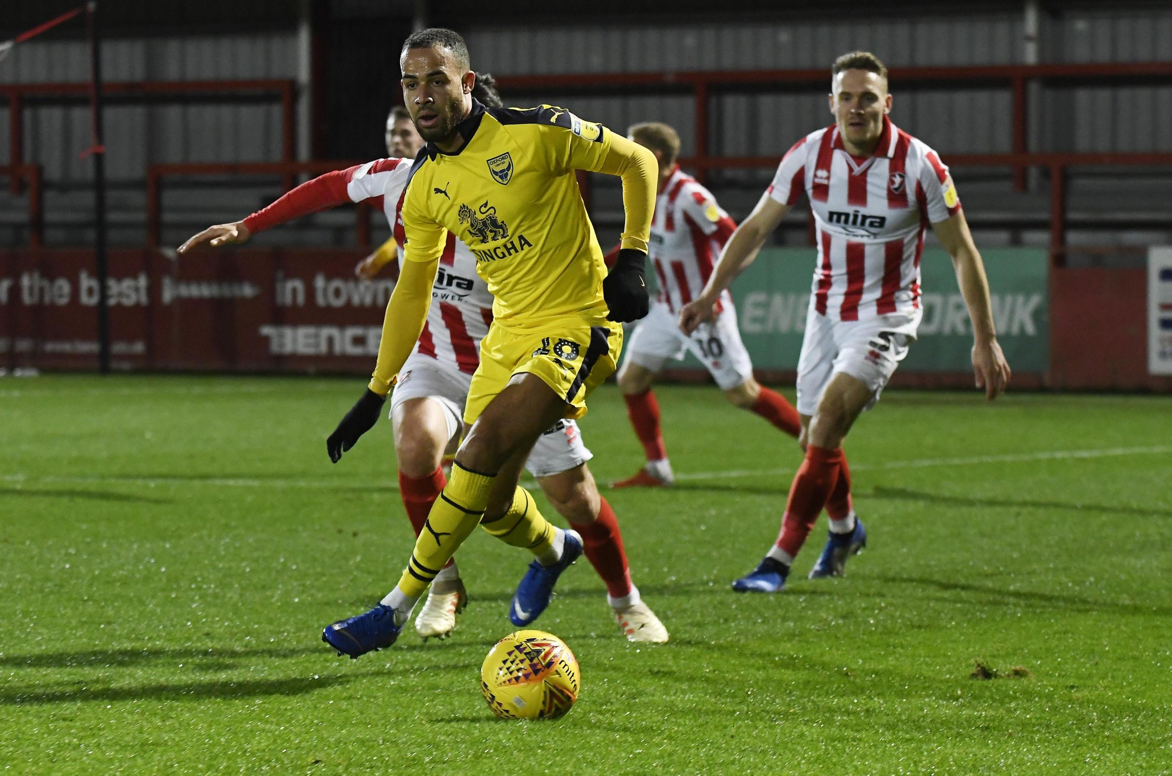 Jordan Graham looks for a pass against Cheltenham Town, where he played 90 minutes in the Checkatrade Trophy on Tuesday night     Picture: David Fleming