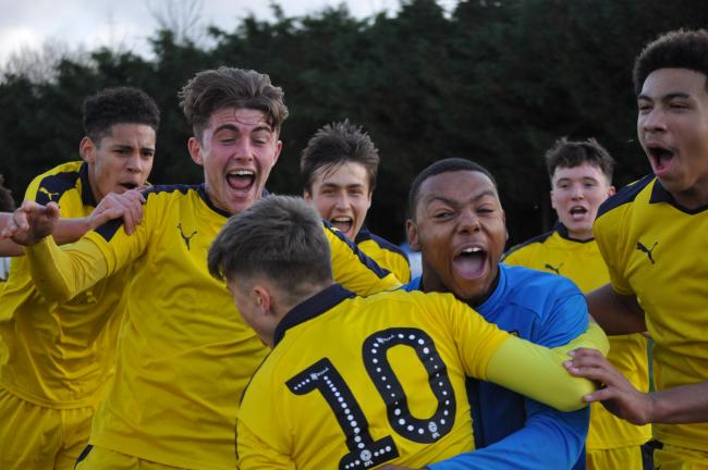 Oxford United Under 18s celebrate a late equaliser last month on the way to their league title    Picture: Oxford United