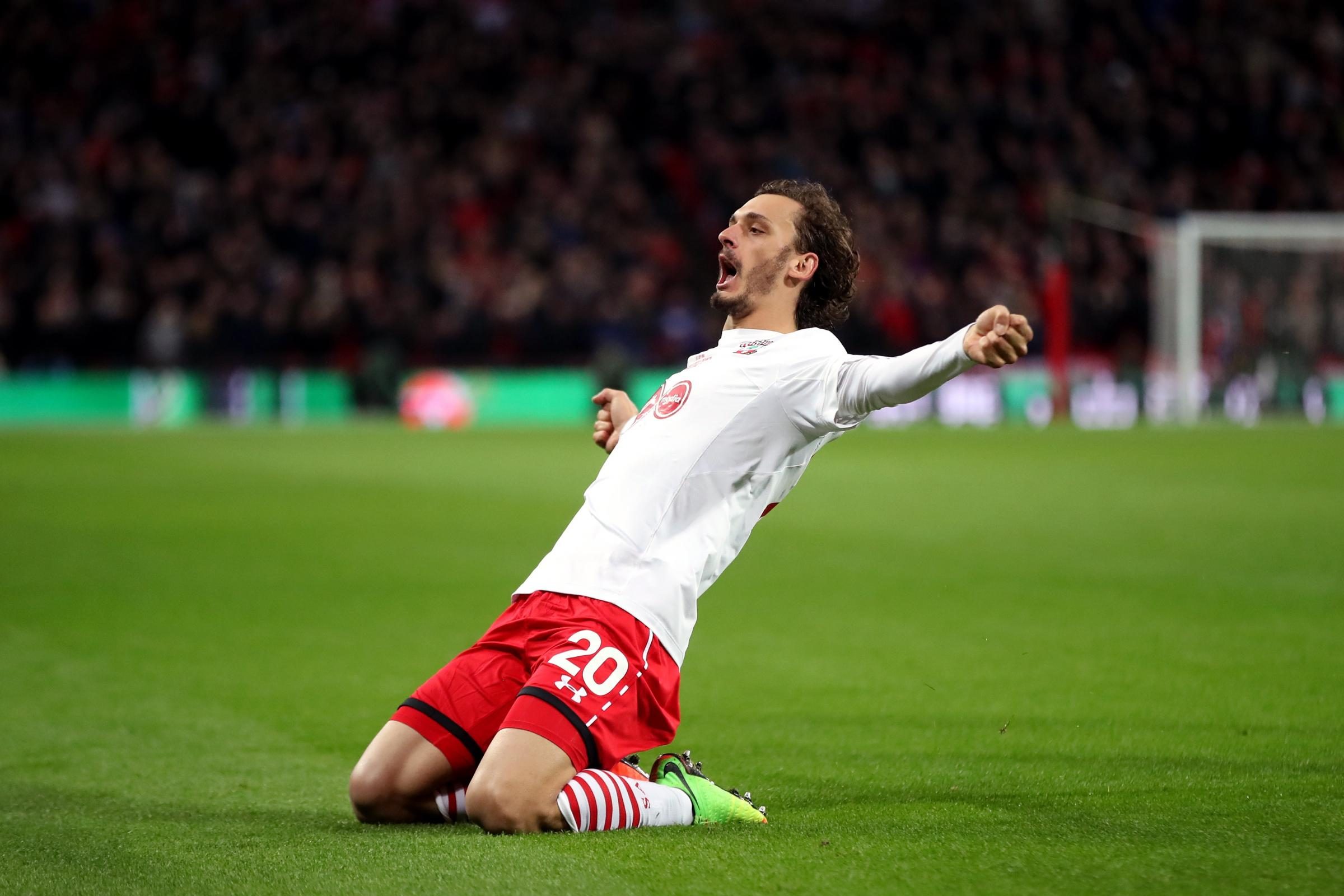 Manolo Gabbiadini scored for Southampton twice in the EFL Cup final