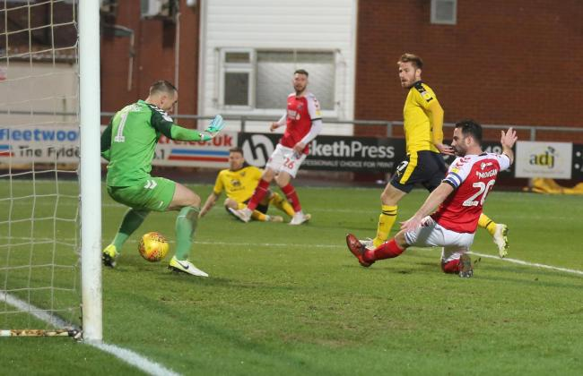 James Henry scores Oxford United's first goal at Fleetwood Town  Picture: Richard Parkes