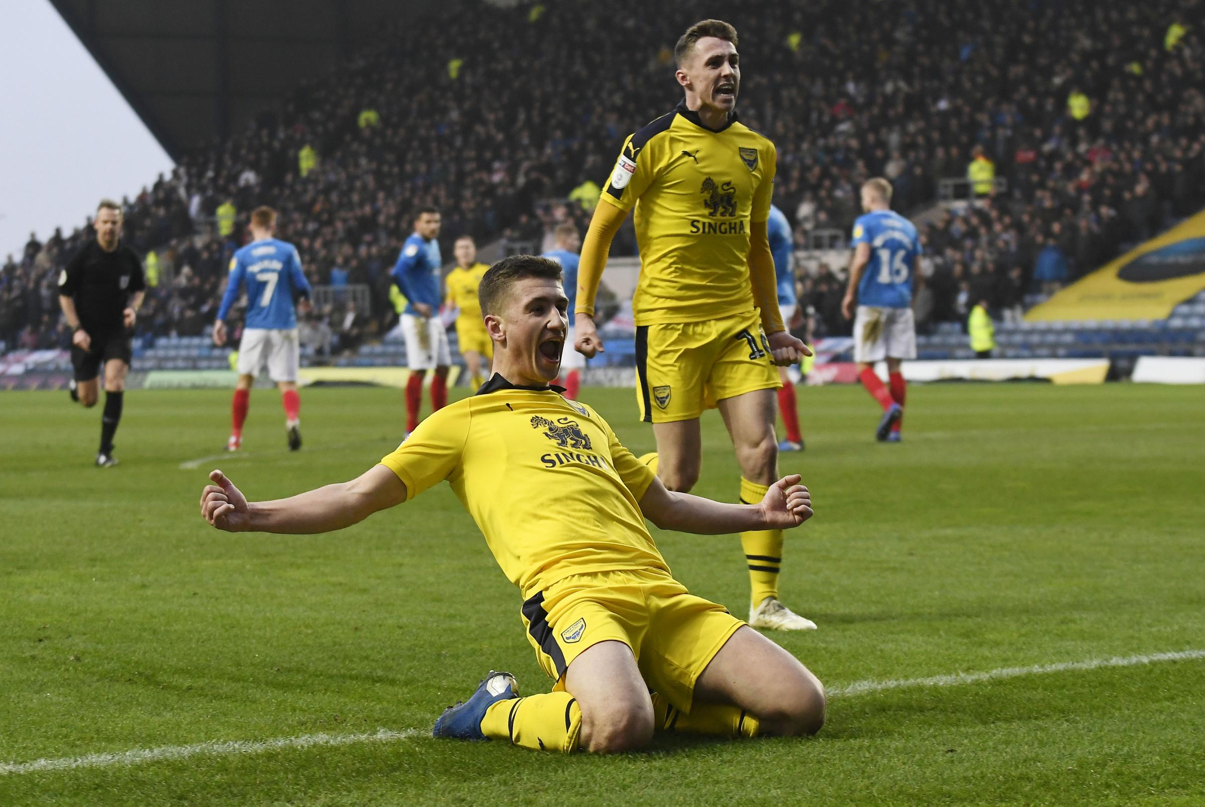 Cameron Brannagan celebrates firing Oxford United in front  Picture: David Fleming