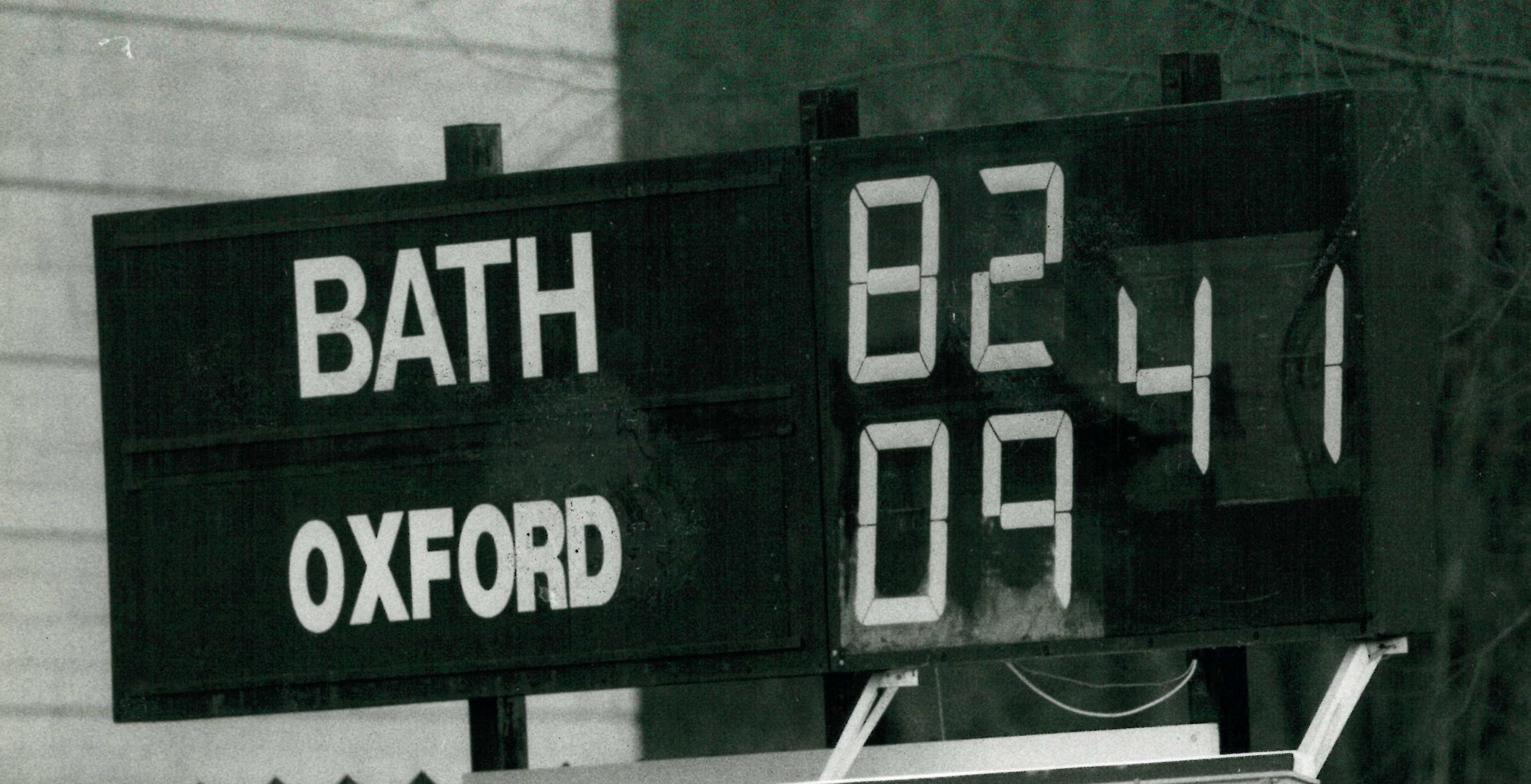 The scoreboard at The Rec in 1989