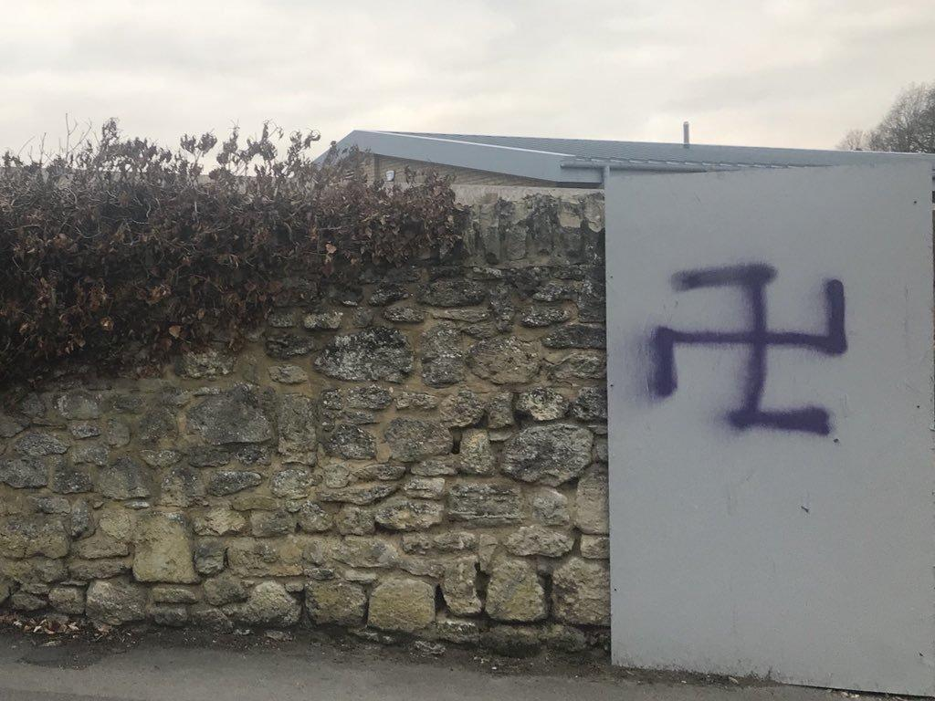 Nazi swastika sprayed on the wall of Oxford Pavillion was one of the racist incidents reported last year. Pic by Shaista Aziz