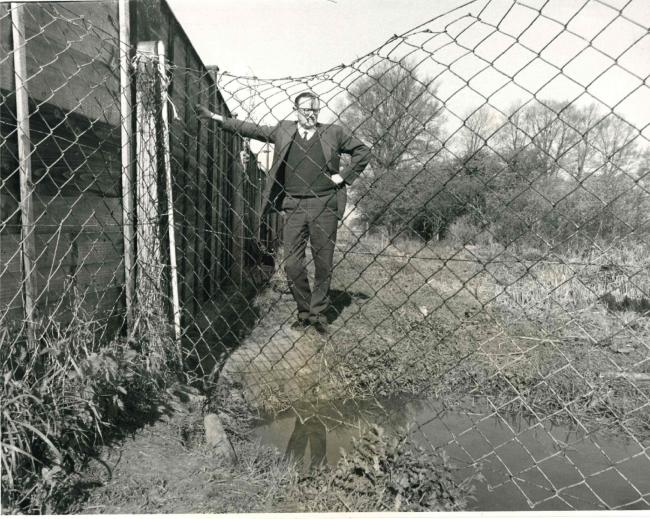 Albert Standingford, the councillor for Marston at the time, standing on the land claimed by residends