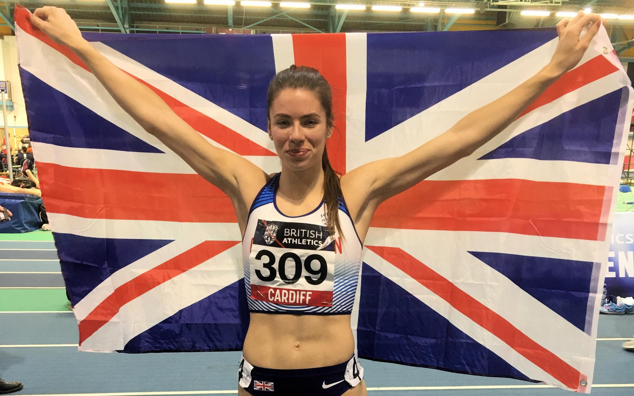 Alice Hopkins proudly displays the Union Jack on her Great Britain debut in Cardiff Picture: Ian Marriott