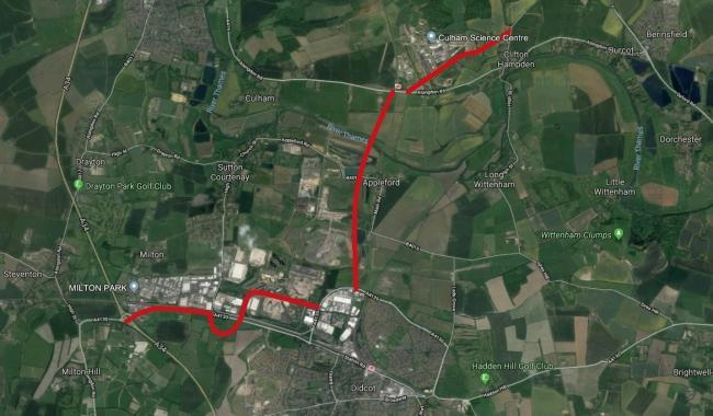 The locations of the planned new roads in and around Didcot