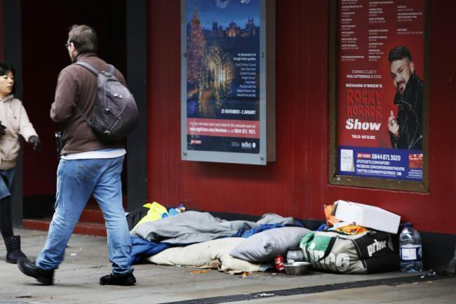 A homeless person's belongings outside the New Theatre in George Street