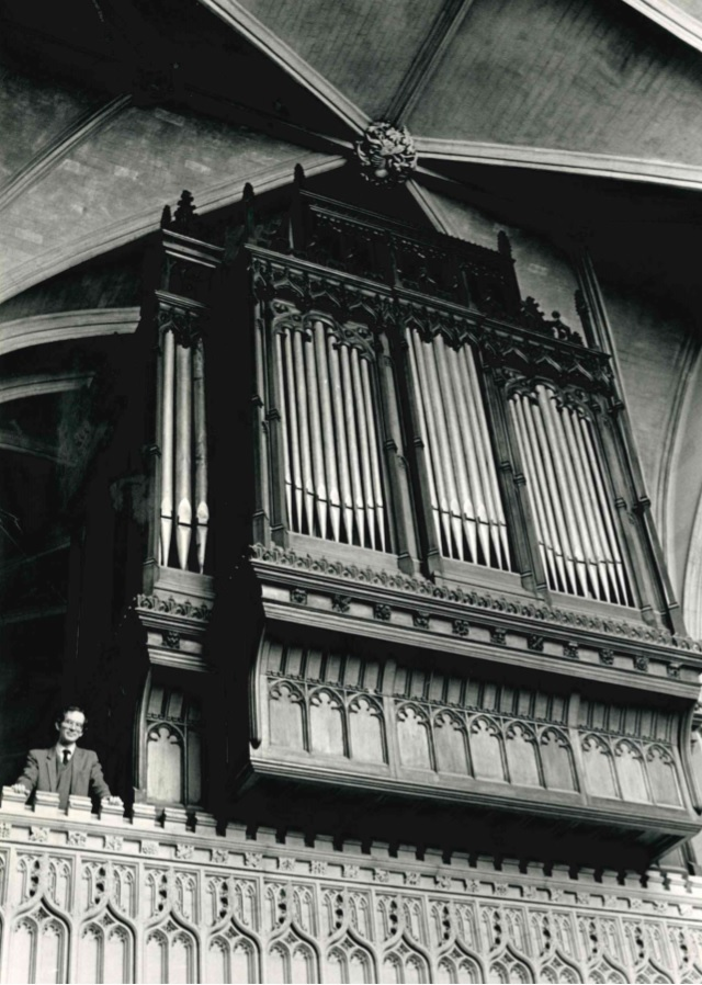 Dr John Harper at Magdalen College next to 25 foot high organ    May 2, 1985