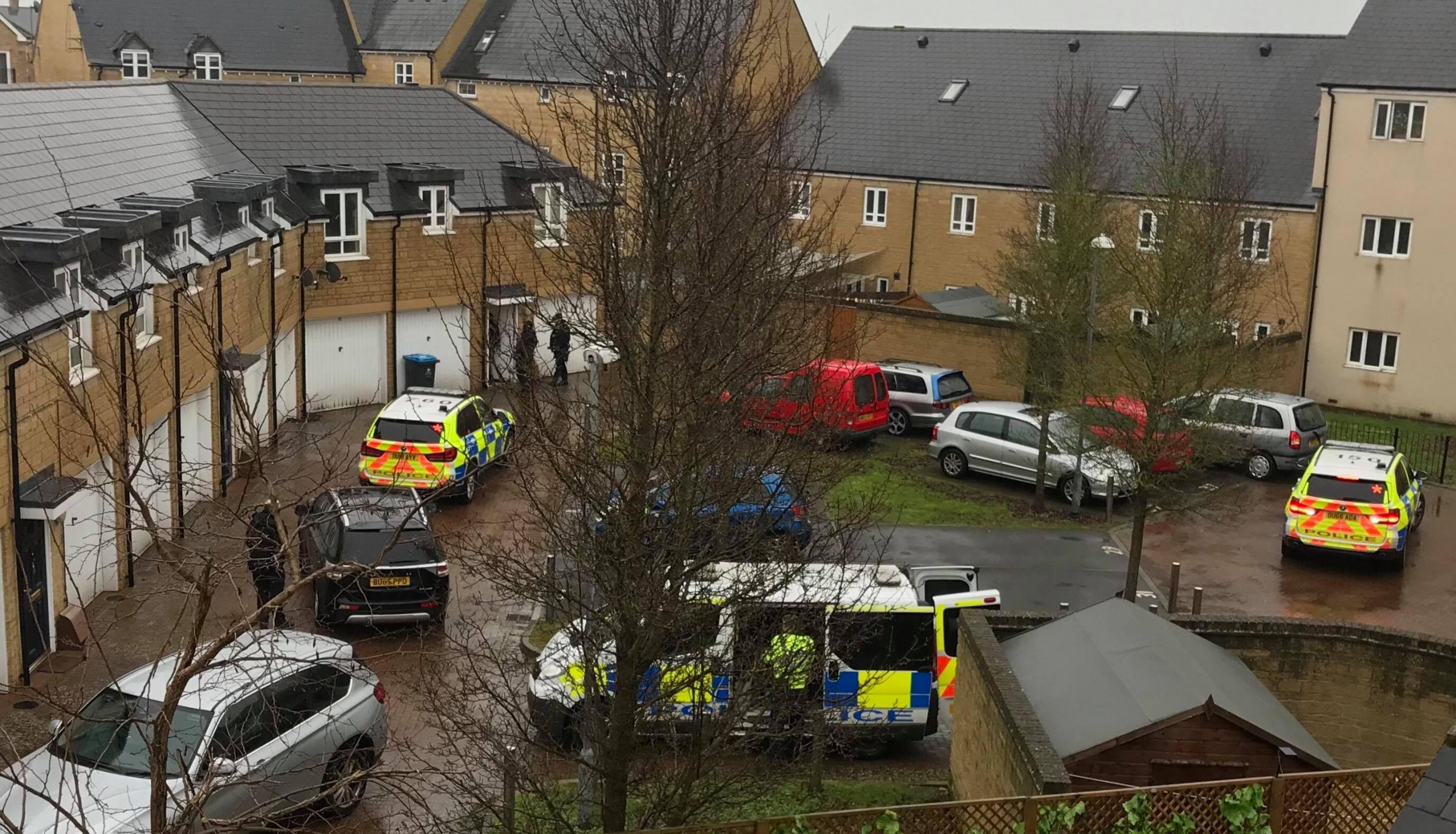 The police operation on Shilton Park, Carterton, on Friday Picture: Jon Berry