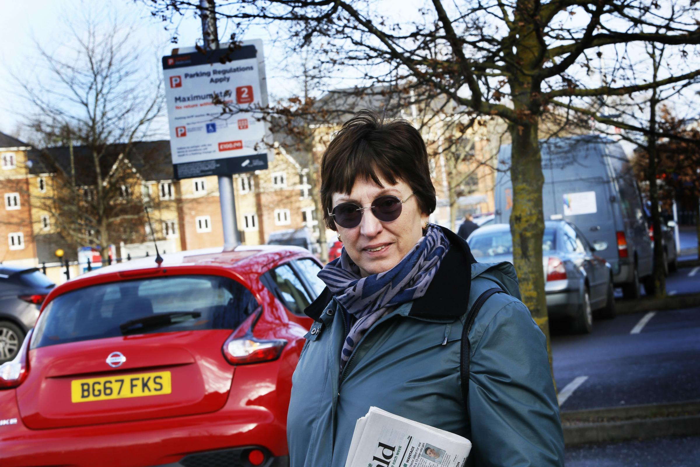 Julie Mabberley of the Wantage and Grove Campaign Group raising awareness about local parking in 2018. Picture: Ed Nix