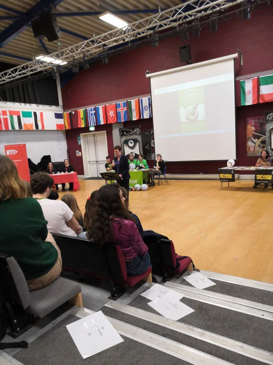 Kate Allen of Amnesty International UK talks to students at Cheney School's Global Awareness Day