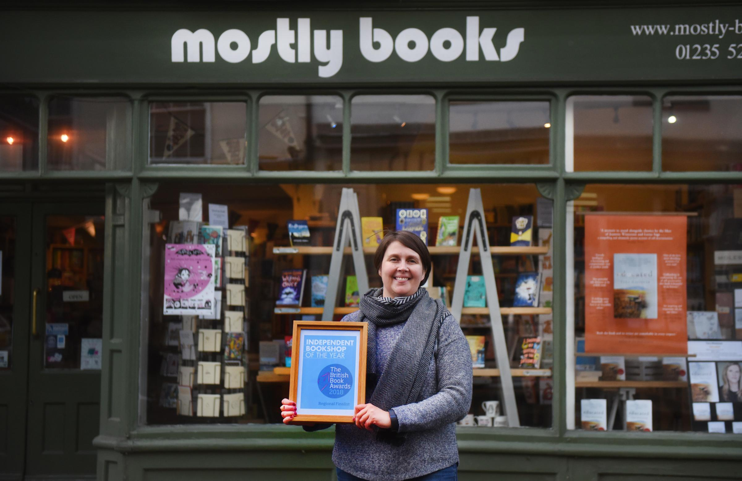 Owner Sarah Dennis at Mostly Books, Abingdon after being shortlisted last year. Picture Richard Cave.