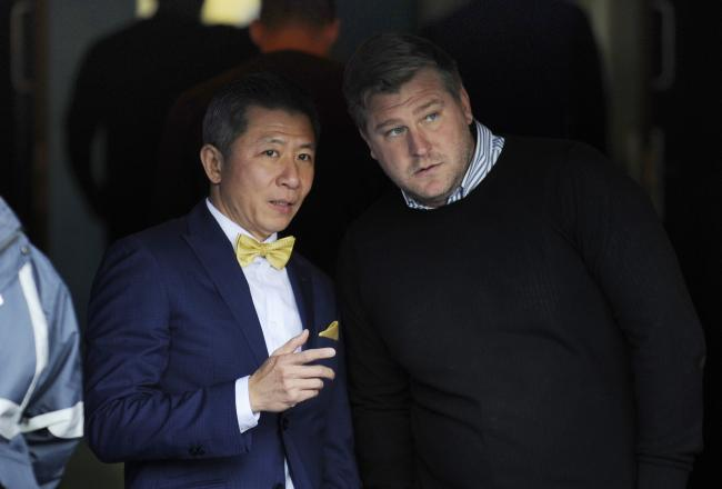 Head coach Karl Robinson with U's chairman Tiger before the final home game of last season 		Picture: David Fleming