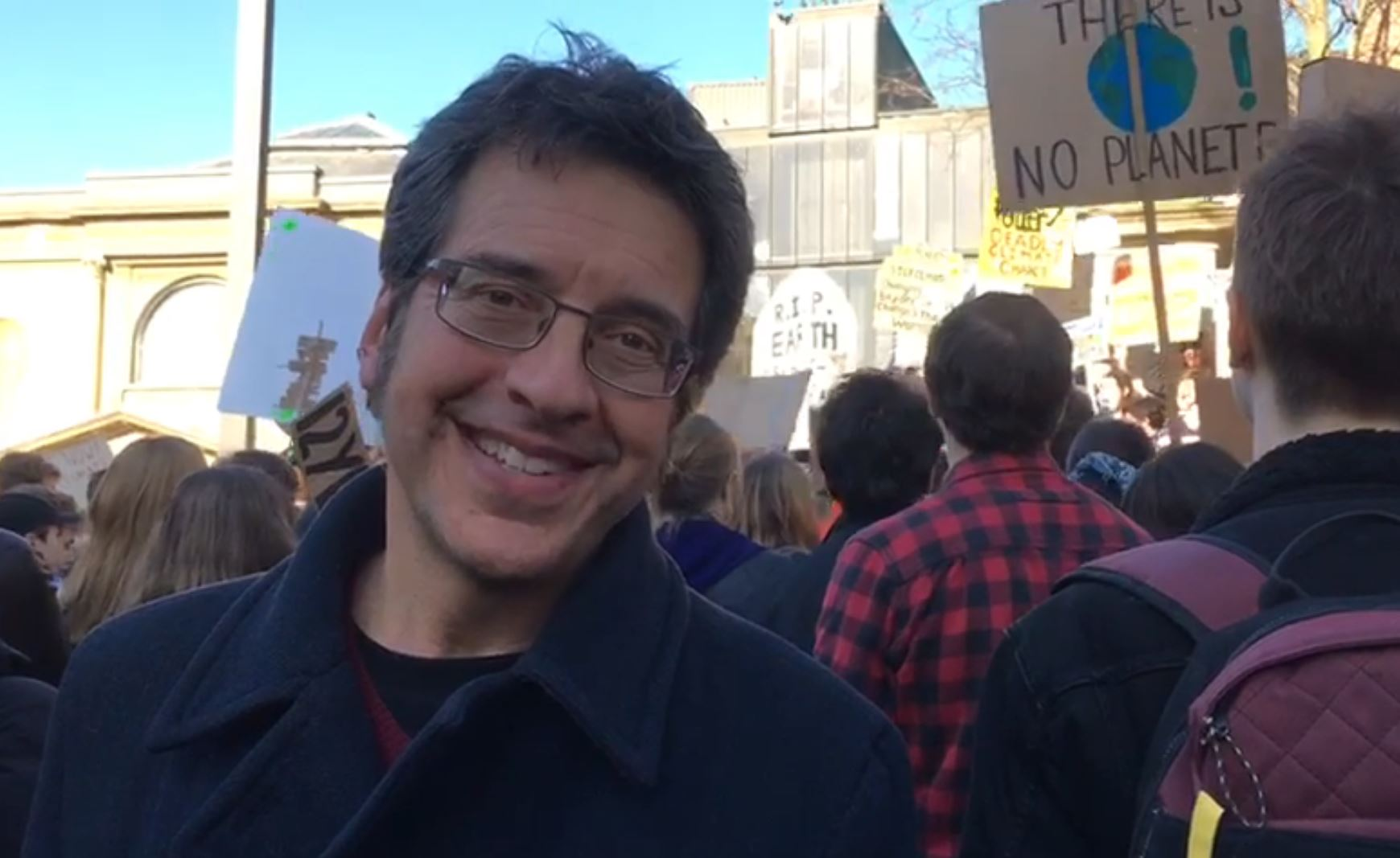 George Monbiot  at the 'student strike'.