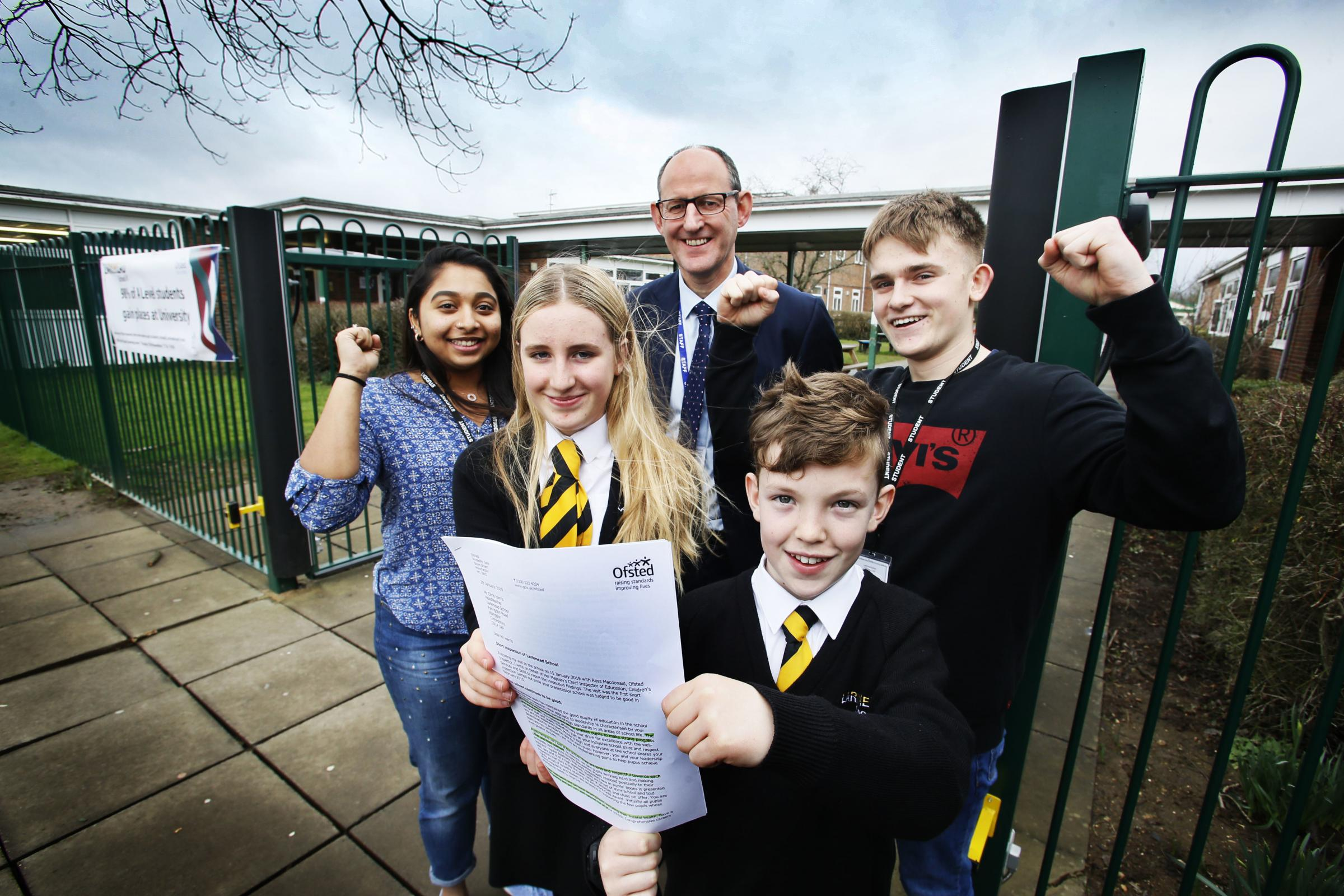 Larkmead headteacher Chris Harris pictured with sixth form students Ann Thomas (17) and Ben Fagan (16), and pupils Daisy Phillpott (12) and Nathan Wall (11). Picture by Ed Nix