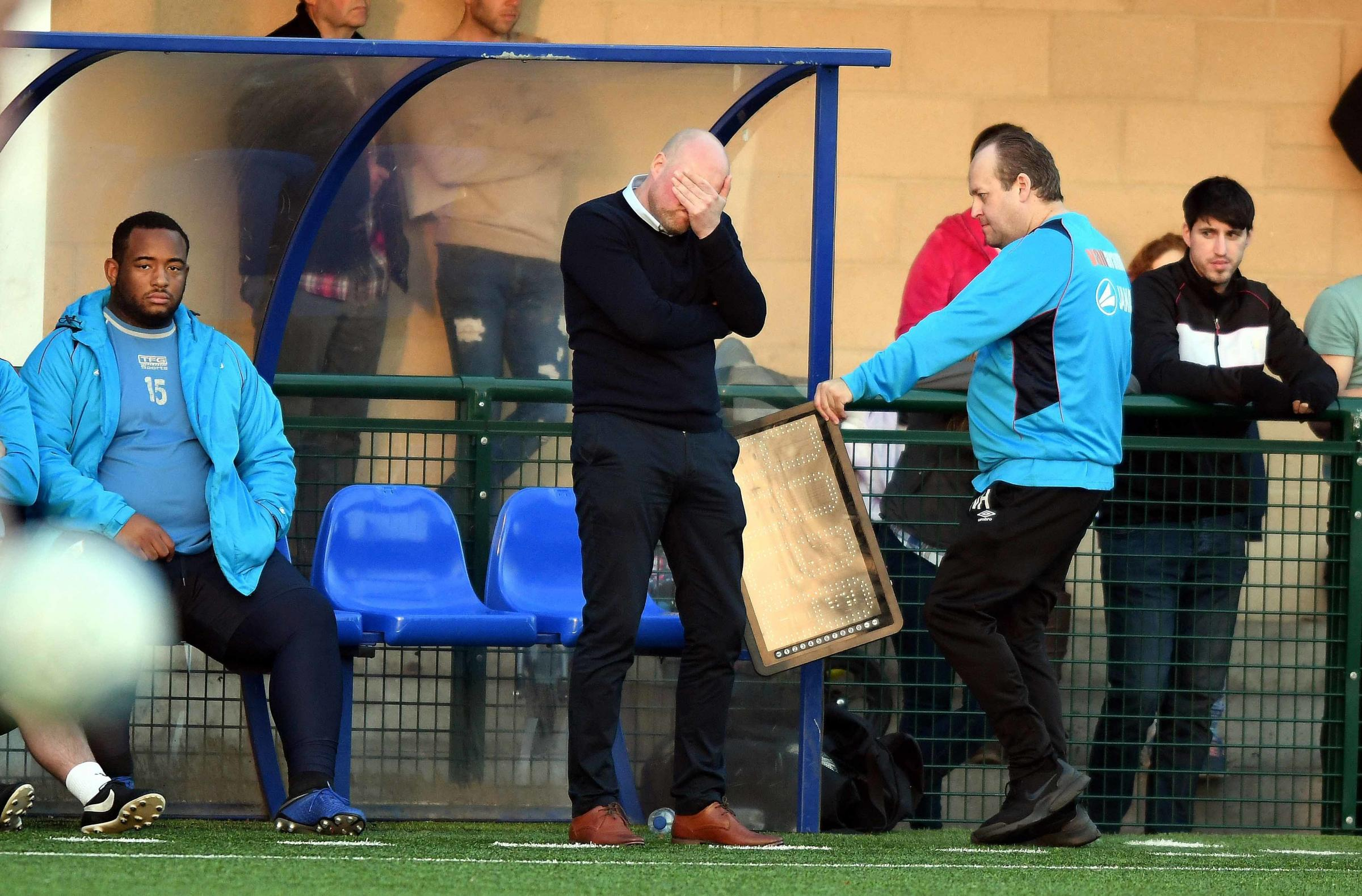 Mark Jones cannot hide his disappointment after watching his Oxford City side go 3-2 down at home to Billericay Town last weekend Picture: Mike Allen