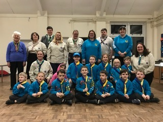 Beaver Scouts and leaders at launch of Hanney Scout Group