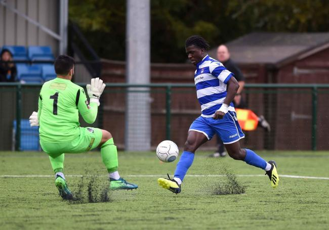Kabongo Tshimanga scores against Dartford earlier this season    Picture: Mike Allen