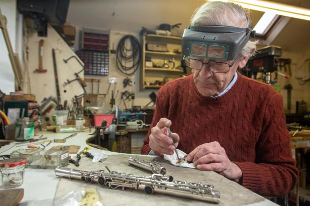 Oxford Mail: Stephen Wessel one of the last flute makers in the UK at his workshop in Alhampton, Shepton Mallet, Somerset.