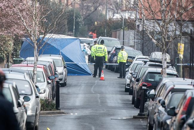 Forensics on scene the day after the stabbing