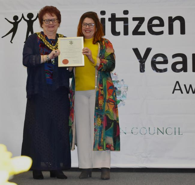 Dianne Parkes, founder of Witney Wonderland, at Witney's Citizen of the Year Awards in 2019. Picture: Witney Town Council