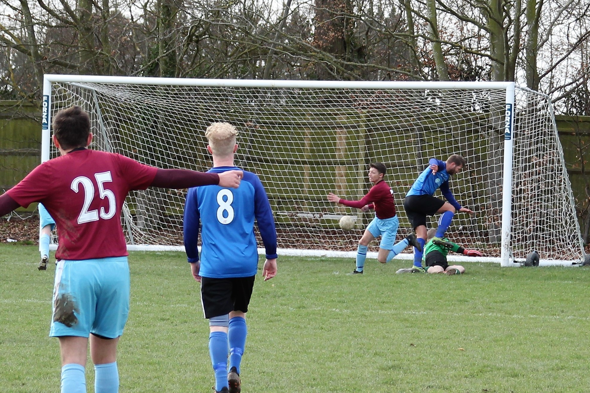 Reece Burgess scoring Milton United's opening goal against Maidenhead Town Reserves