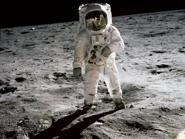 Astronaut Edwin �Buzz� Aldrin walks on the moon during the Apollo 11 mission. Photo Credit: NASA/Neil Armstrong.