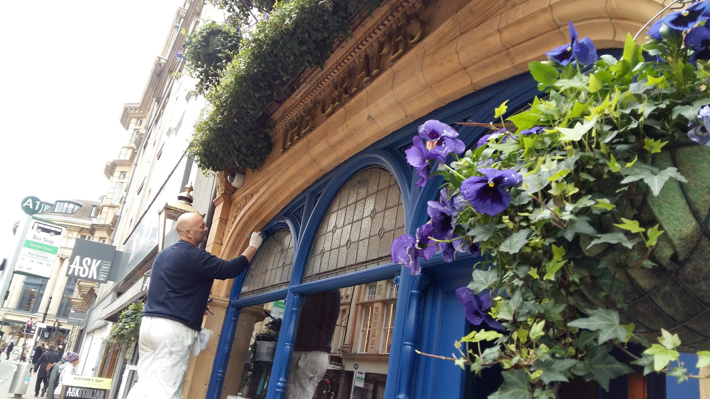 The Grapes in George Street is now bright blue