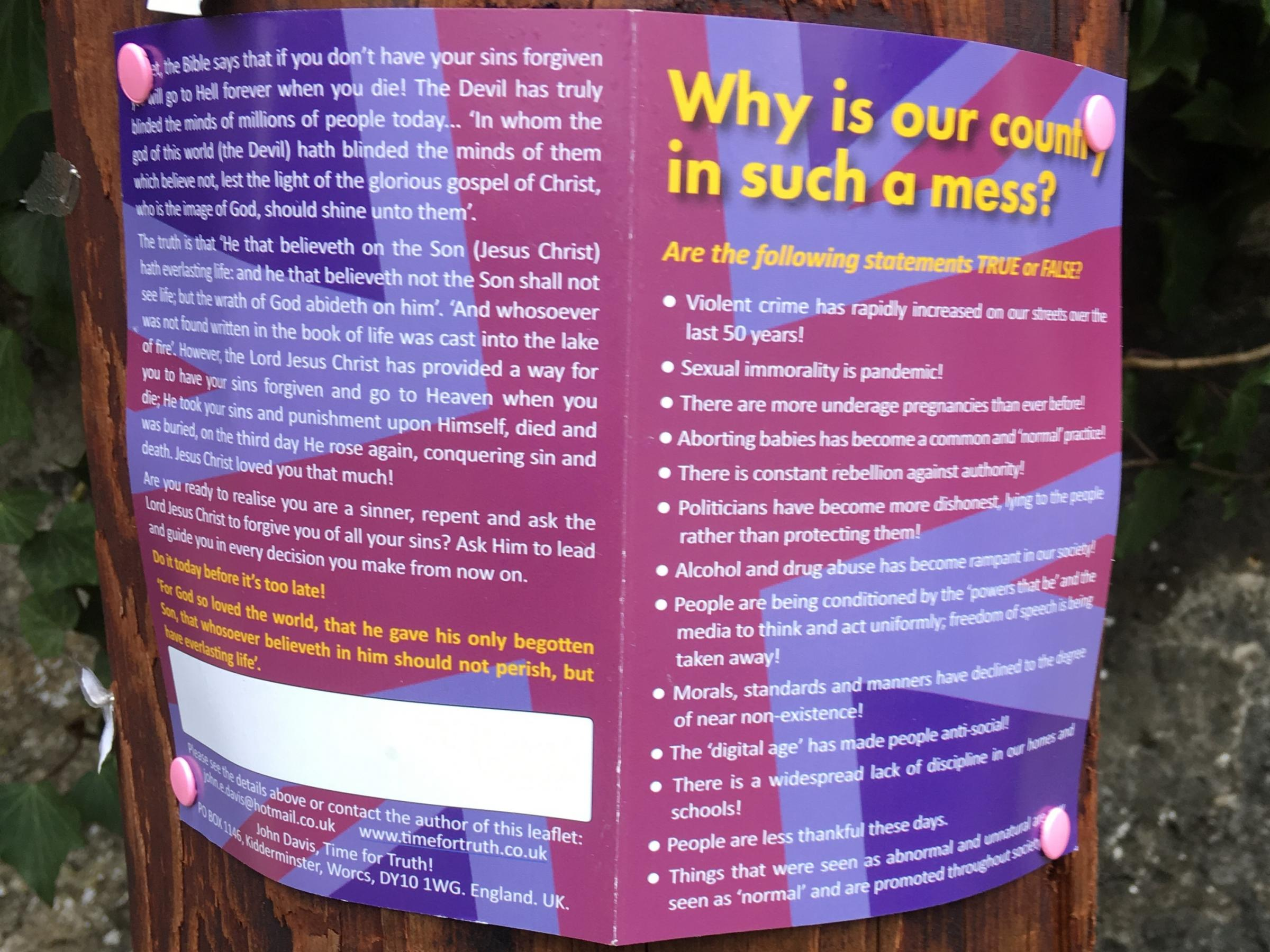 Religious leaflets blasting the 'mess' country is in plastered over Abingdon
