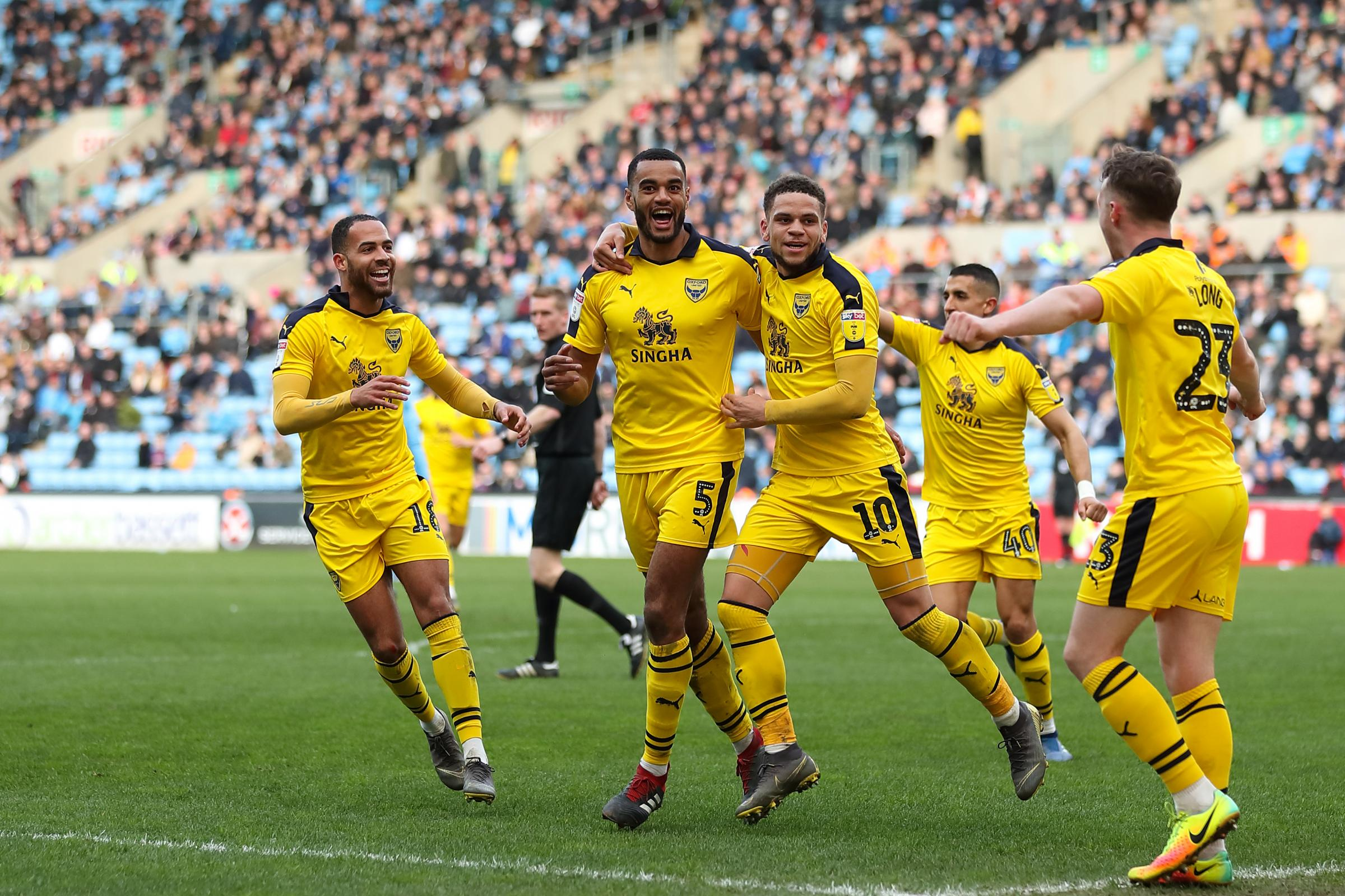 Curtis Nelson celebrates after scoring what turned out to be the only goal of the game in Oxford United's victory at Coventry City on Saturday        Picture: James Williamson