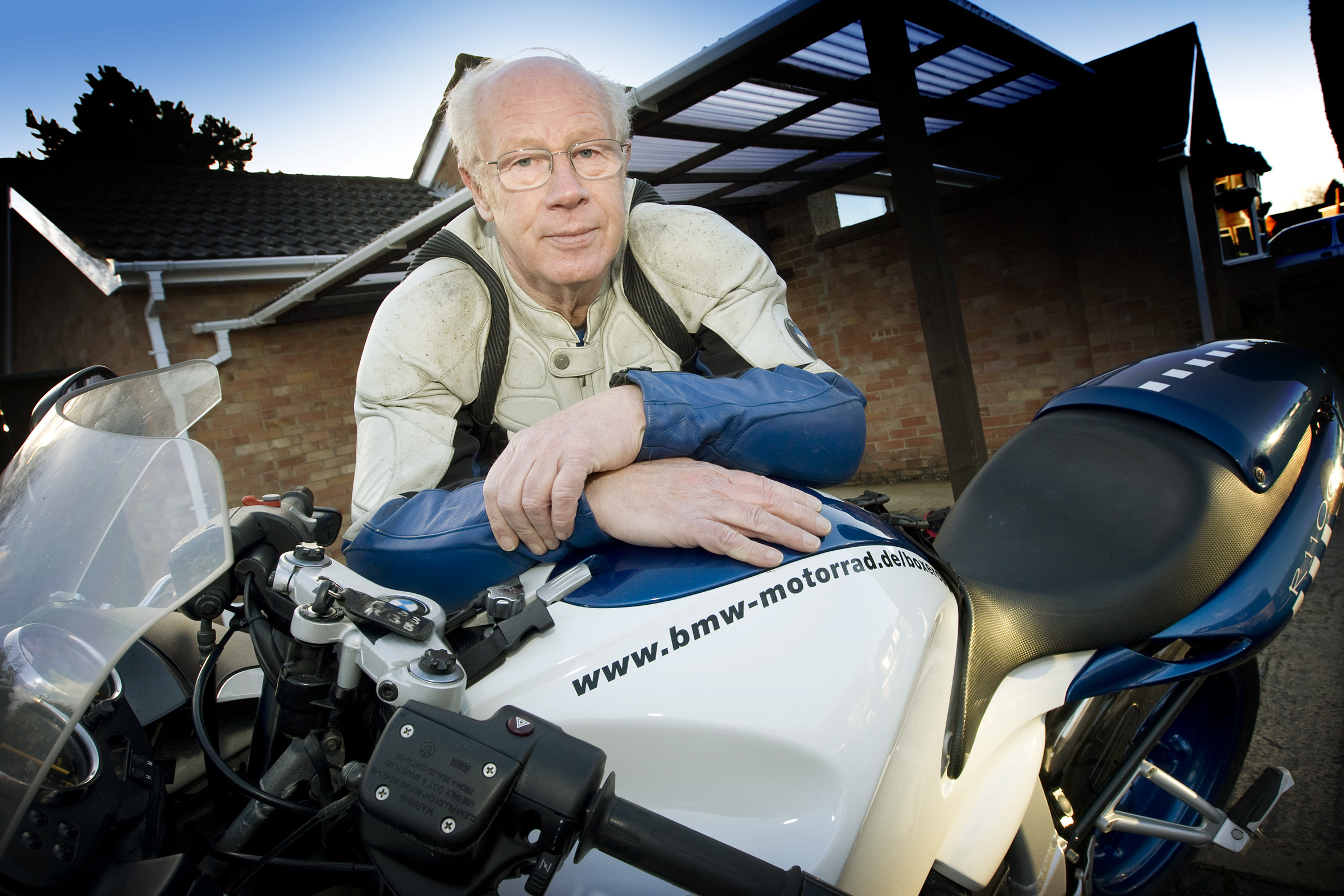 John Wheeler pictured with his motorbike in 2011. Pic: Damian Halliwell