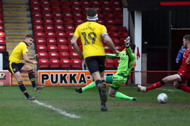 Luke Garbutt puts Oxford United in front at Walsall  Picture: James Williamson