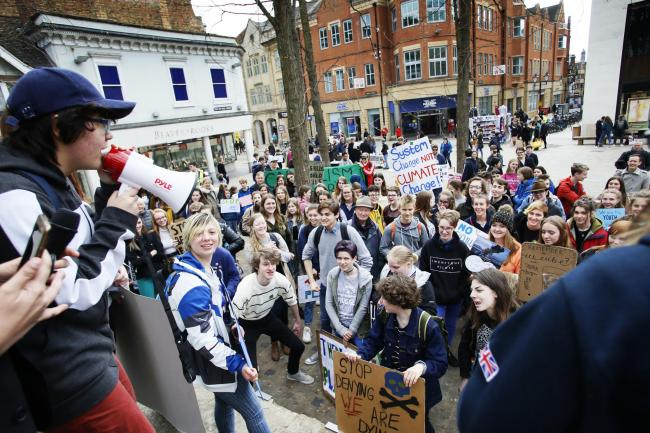 The third school strike for climate change at Bonn Square in Oxford..12/04/2019.Picture by Ed Nix.