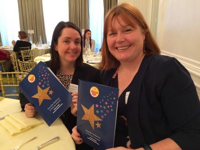 Aureus School headteacher Hannah Wilson, right, with deputy Julie Hunter, at the Place2Be awards ceremony