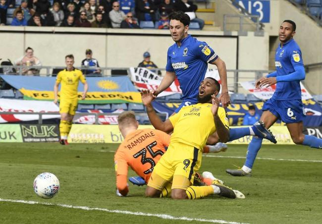 Jerome Sinclair sees a chance go begging in the first half against AFC Wimbledon  Picture: David Fleming