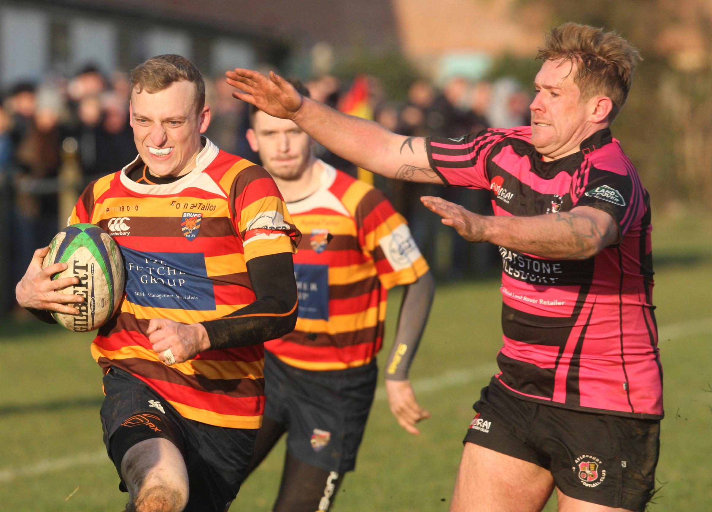 Peter Tarrega (left) scored Bicester's first try during their win over Wallingford in Southern Counties North