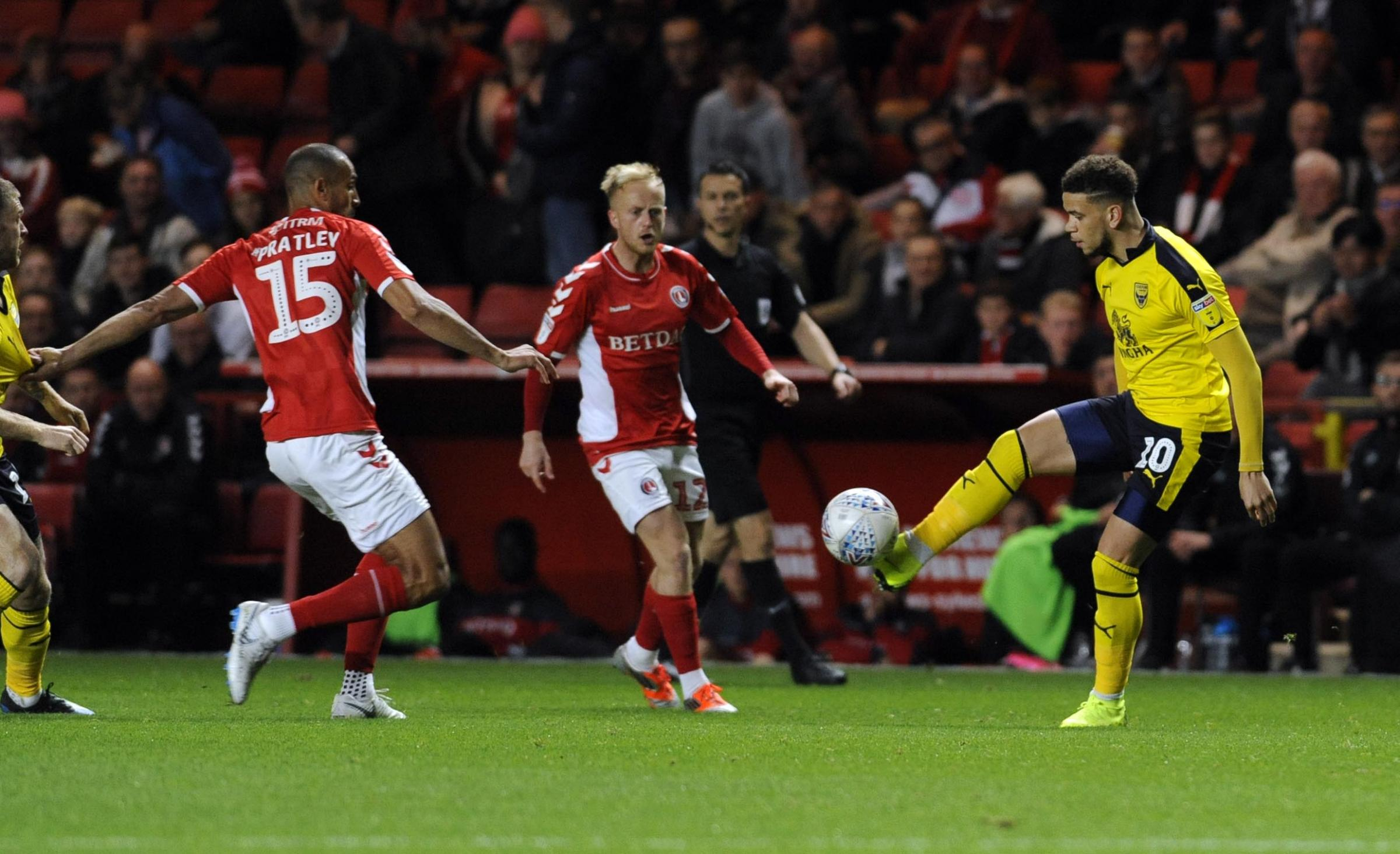 Marcus Browne takes on two Charlton Athletic players in Oxford United's 1-1 draw at the Valley in October  Picture: David Fleming