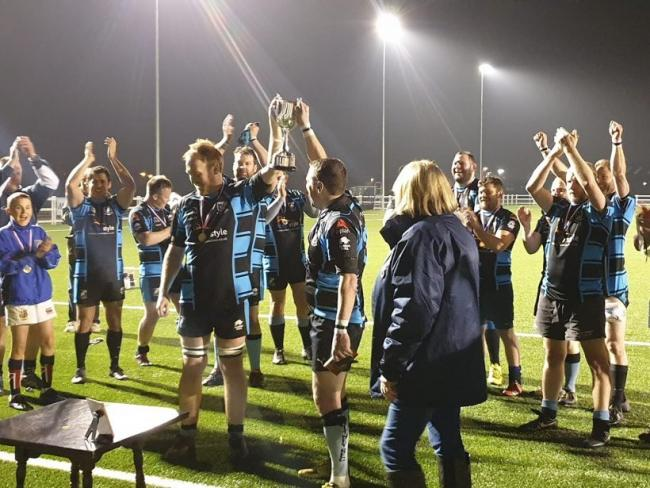 Witney celebrate winning the Oxfordshire Veterans Floodlit Cup Picture: Witney RFC