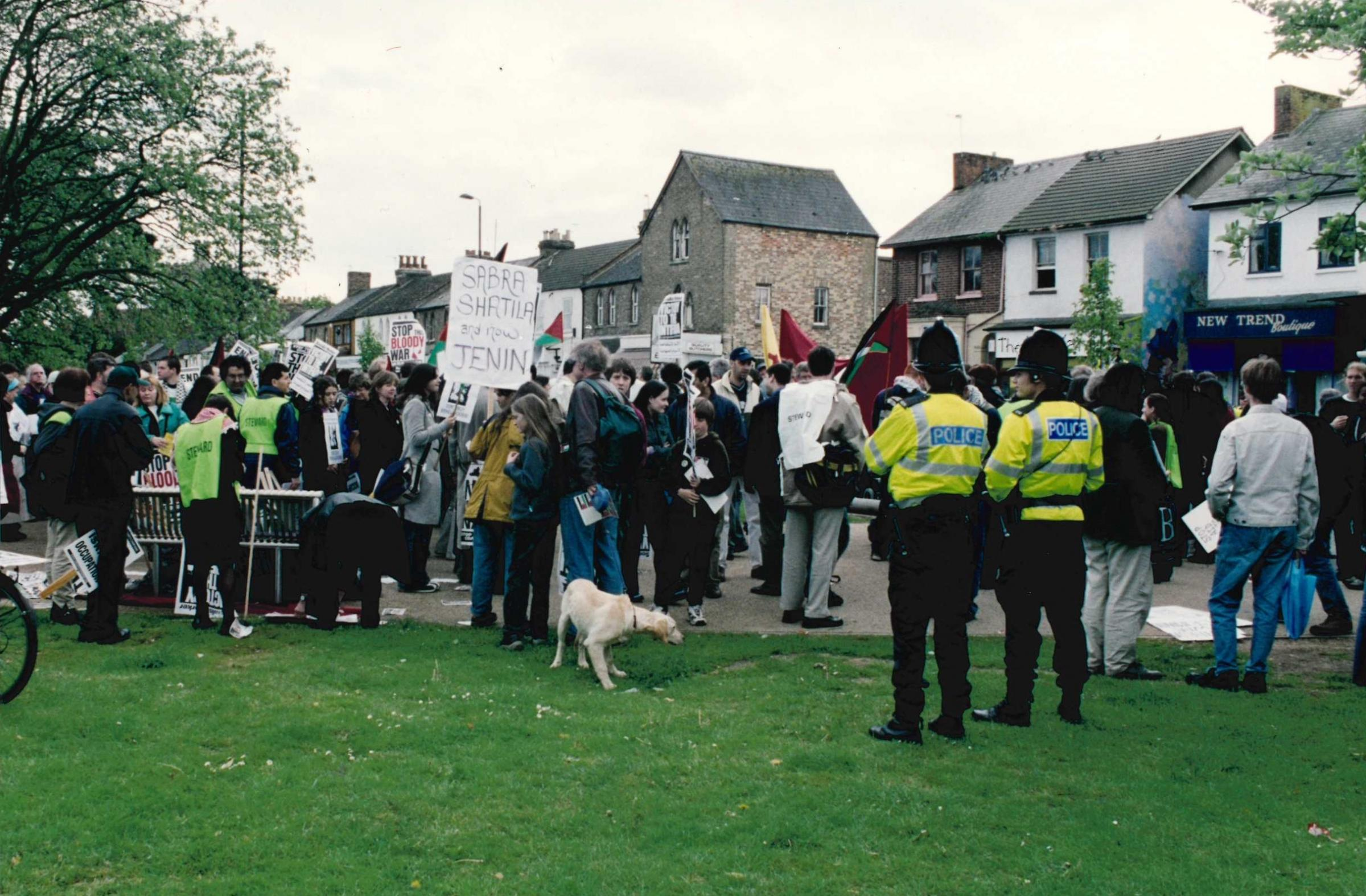 Members of the Palestinian Solidarity Campaign march down Cowley Road on April 27, 2002. Picture: Tim Hughes