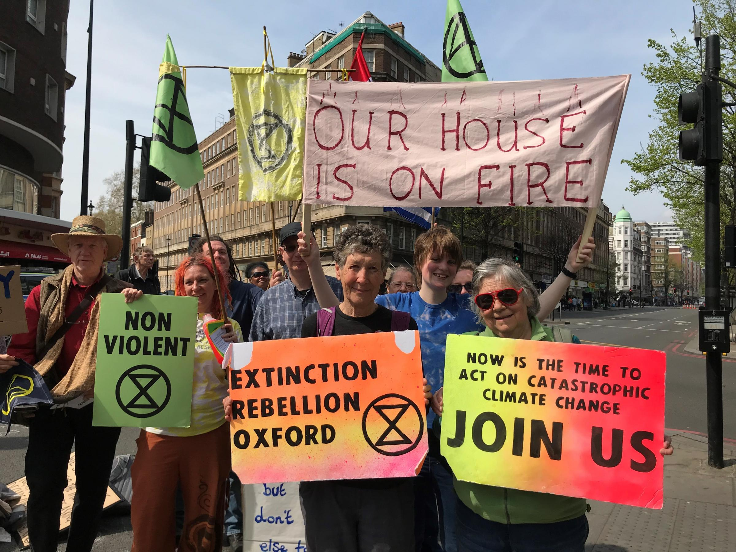 Oxford activists Mary Gill ('Extinction Rebellion Oxford' sign) and Margaret Mukherjee (red glasses) have been arrested. Picture: Zuhura Plummer
