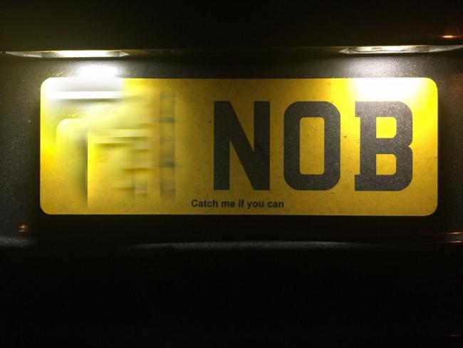 The naughty number plate. Picture: Thames Valley Police Roads Policing @tvprp