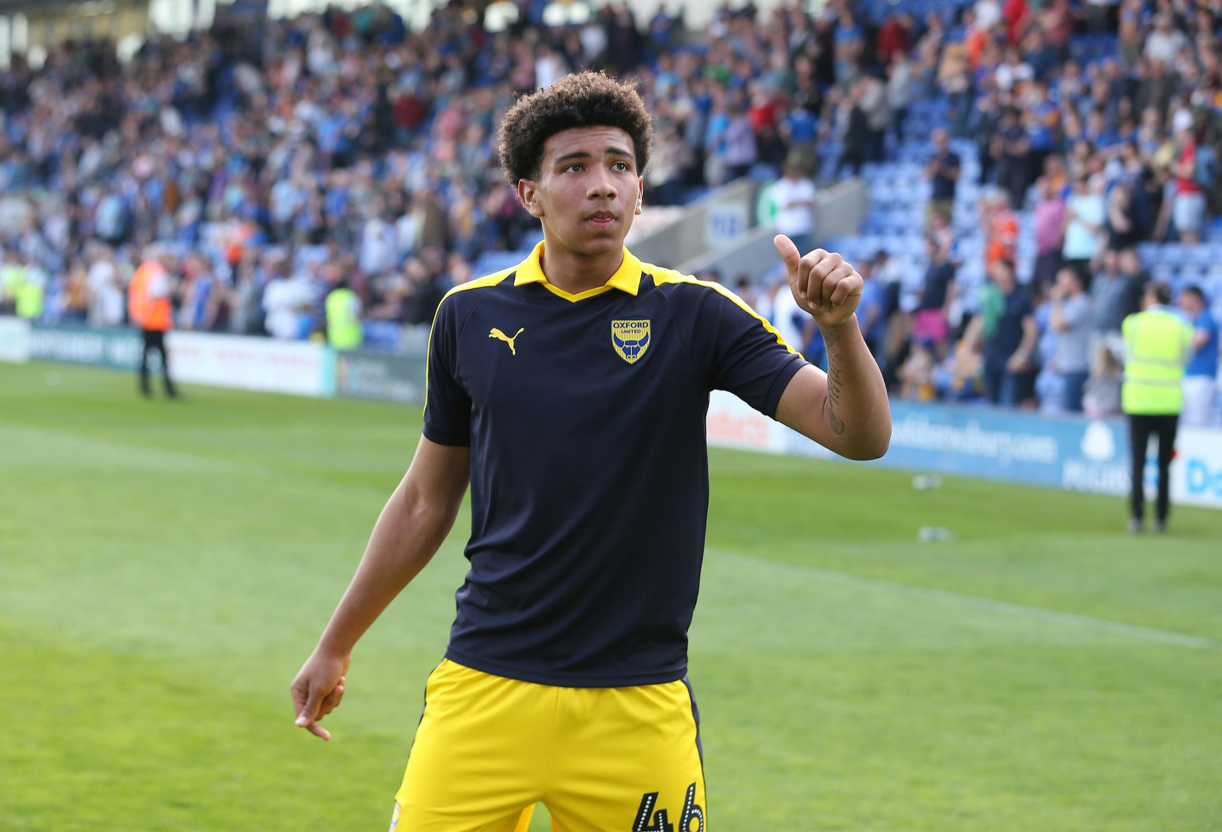 Nico Jones acknowledges the applause from the U's fans after making his debut on Monday   Picture: Richard Parkes