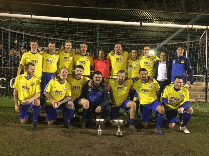 Spartan Rangers celebrate their victory in the Jack Busby Cup final