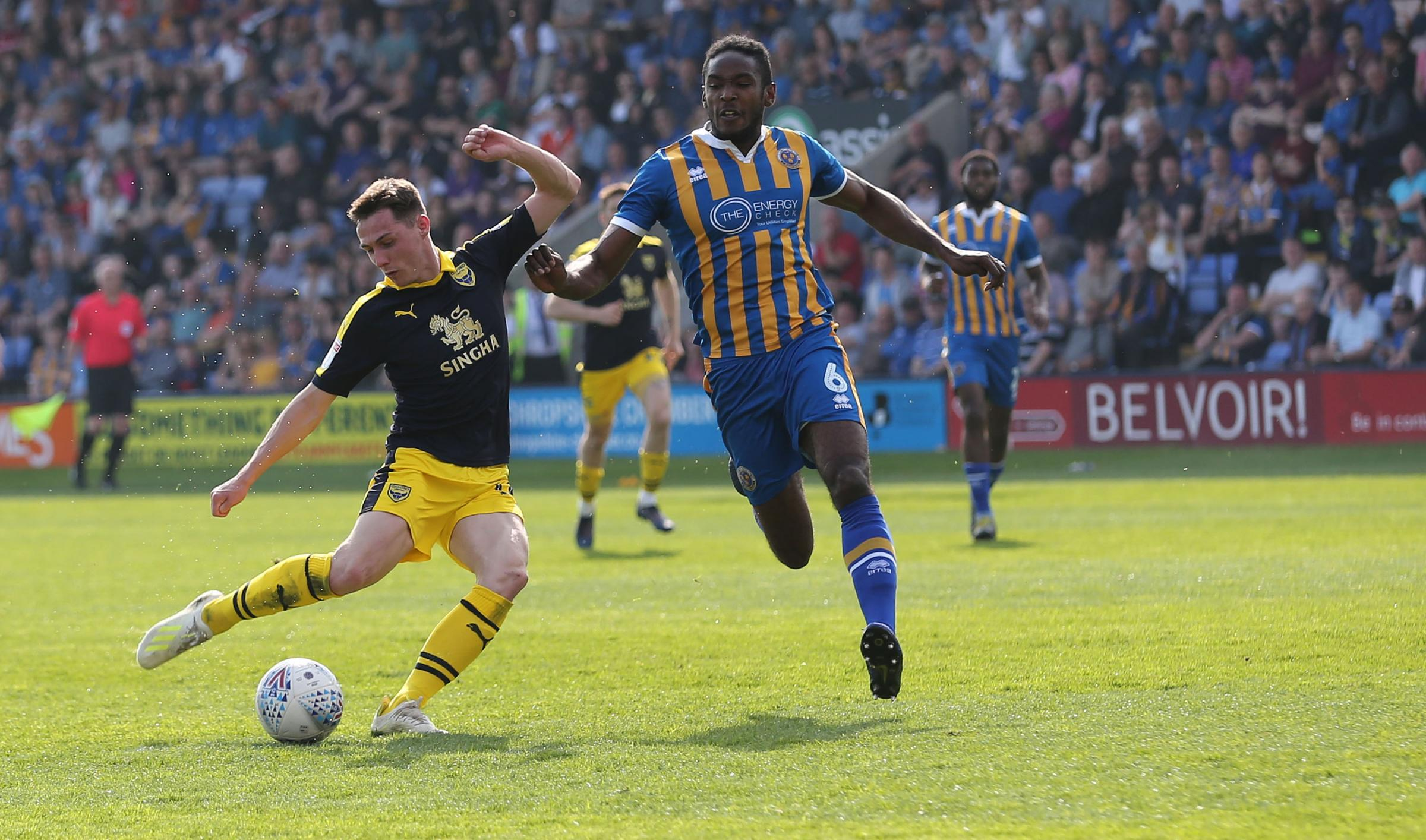 Gavin Whyte scores his second goal of the afternoon at Shrewsbury Town  Picture: Richard Parkes
