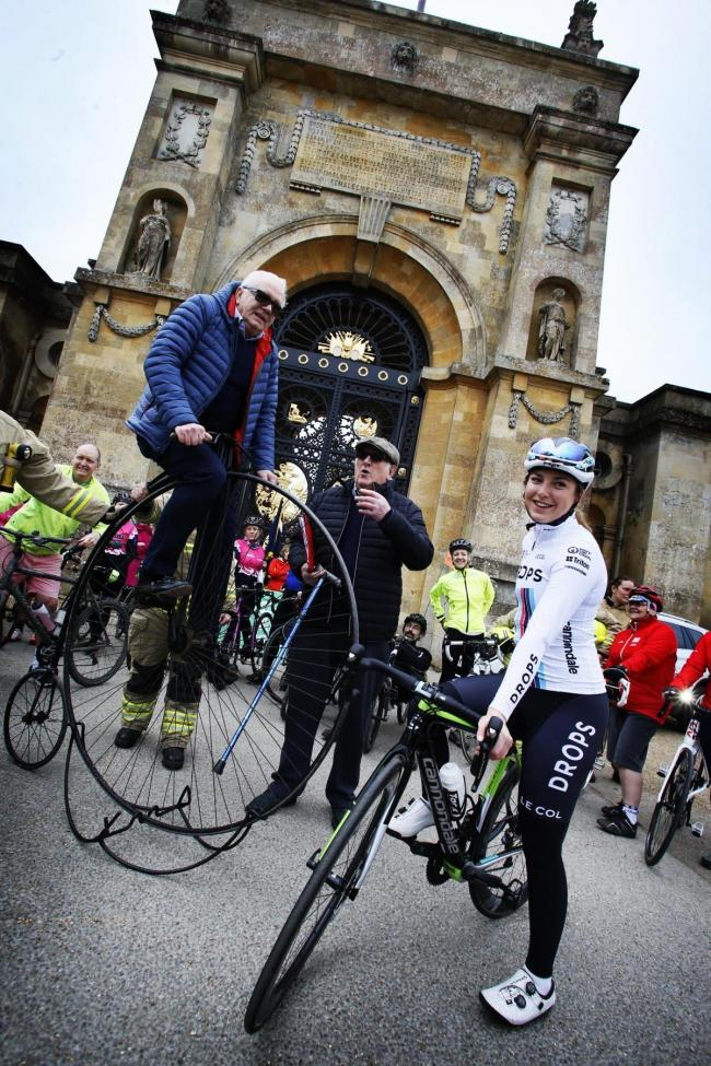 British road and track cyclist Manon Lloyd lead a group of Oxfordshire amateurs around the grounds of Blenheim Palace to mark the announcedment that the 2019 OVO Energy Women's Cycling Tour would pass through Oxfordshire and end at the palace.