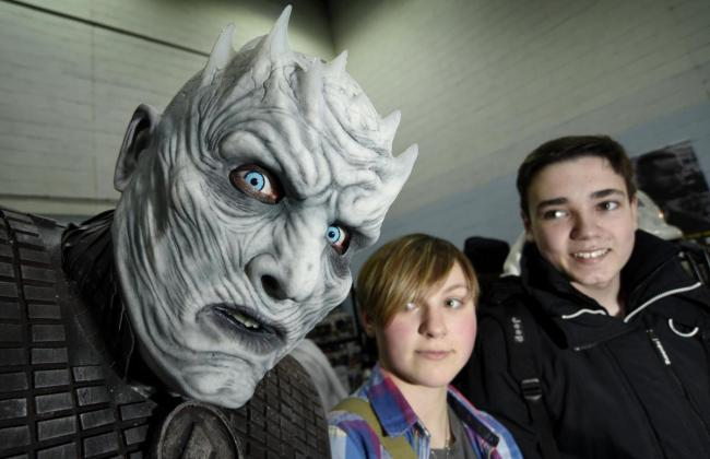 CHARACTERS: Teegan Taylor, 15, and Louis Behennah, 16, meet up with the Night King Picture: David Fleming